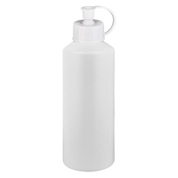 PET Zylinderflasche 75ml weiss, S20x3 mit weissem Spritzverschluss