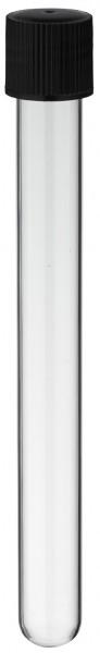 Reagenzglas 160x16mm mit GL18 Gewinde und Schraubkappe aus PE - Schwarz mit Gummidichtung