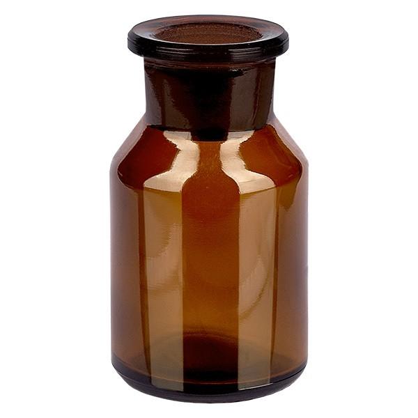 50 ml Steilbrustflasche Weithals Braunglas inkl. Glasstopfen