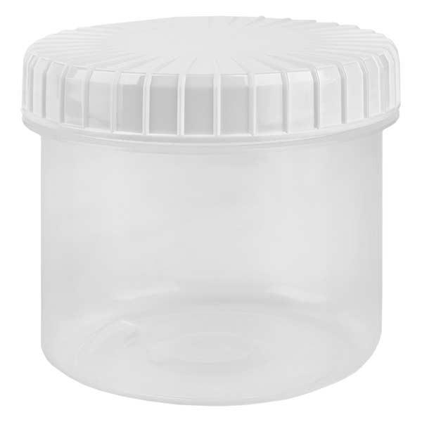Kunststoffdose 135ml transparent mit gerilltem weissen Schraubdeckel aus PE, Verschlussart Standard