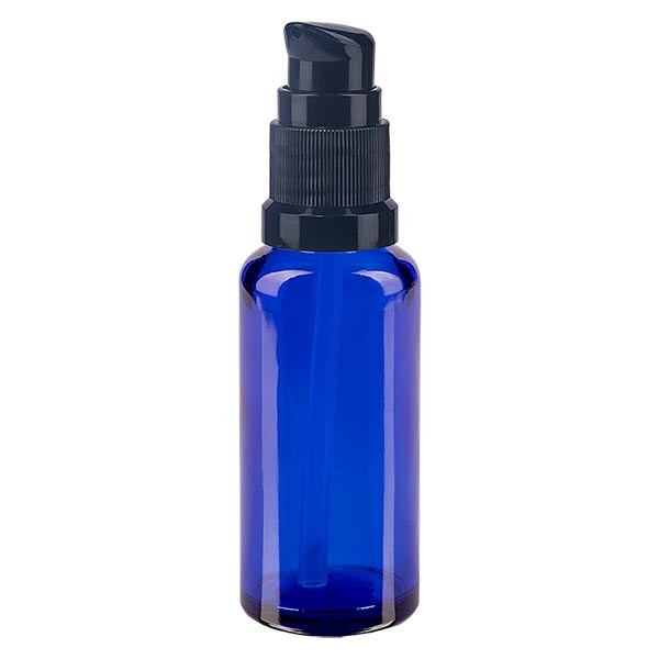 Blauglasflasche 30ml mit Pumpverschluss schwarz