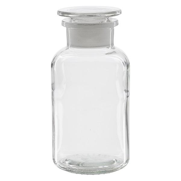 Apothekerflasche 500 ml Weithals Klarglas inkl. Glasstopfen