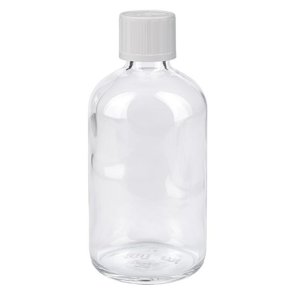 Apothekenflasche klar 100ml Schraubverschluss weiss KiSi Standard