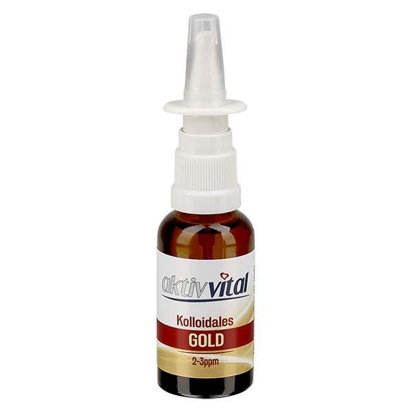 30 ml Kolloidales Gold Aktiv-Vital, 2-3ppm, Braunglasflasche mit Nasenzerstäuber