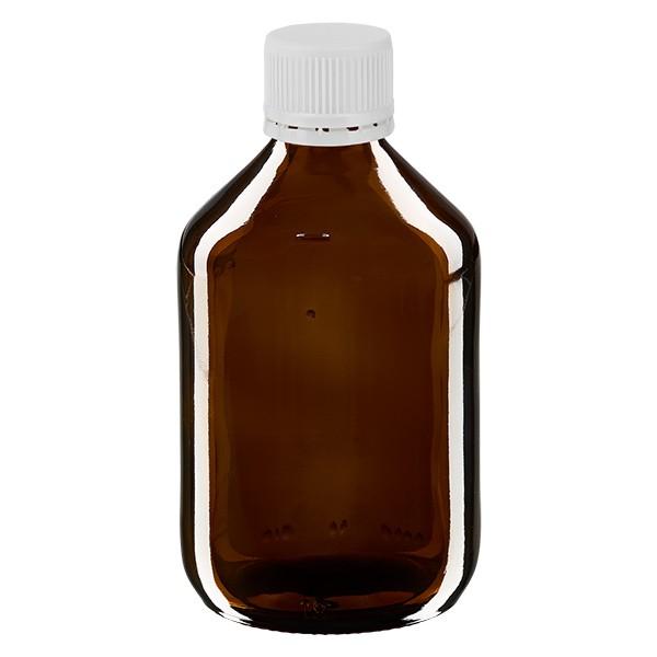 300ml Euro-Medizinflasche braun mit weissem Verschluss OV