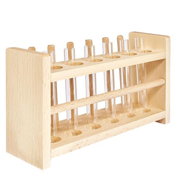 Reagenzglasgest. aus Holz mit 6 Reagenzgl. Kalk-Soda 100x12