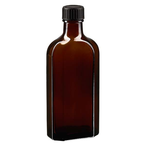 150 ml braune Meplatflasche mit DIN 22 Mündung, inklusive Schraubverschluss DIN 22 schwarz aus EPE