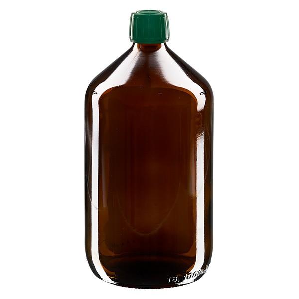 1000ml Euro-Medizinflasche braun mit grünem Schraubverschluss OV