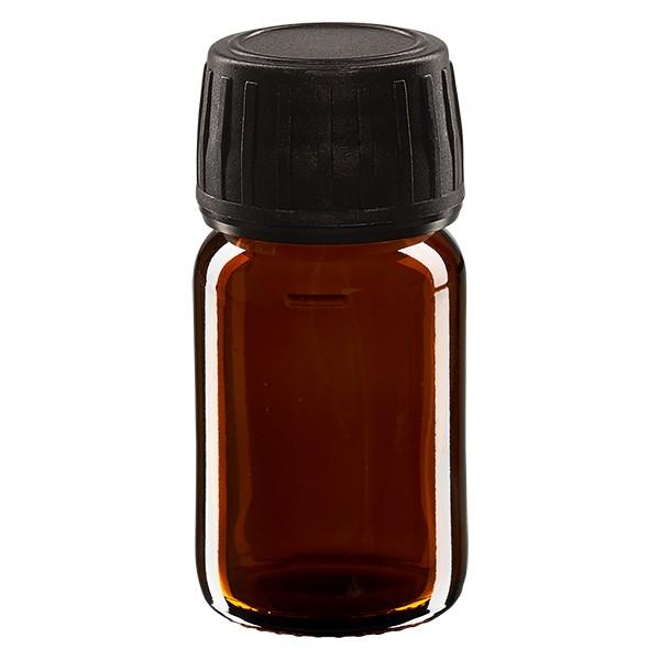30ml Euro-Medizinflasche braun mit schwarzem Schraubverschluss OV