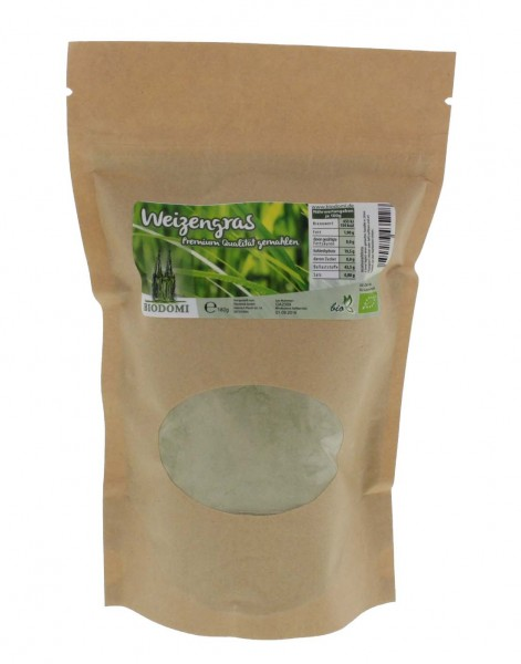 Bio Weizengras 250g, Premium Qualität gemahlen von Biodomi