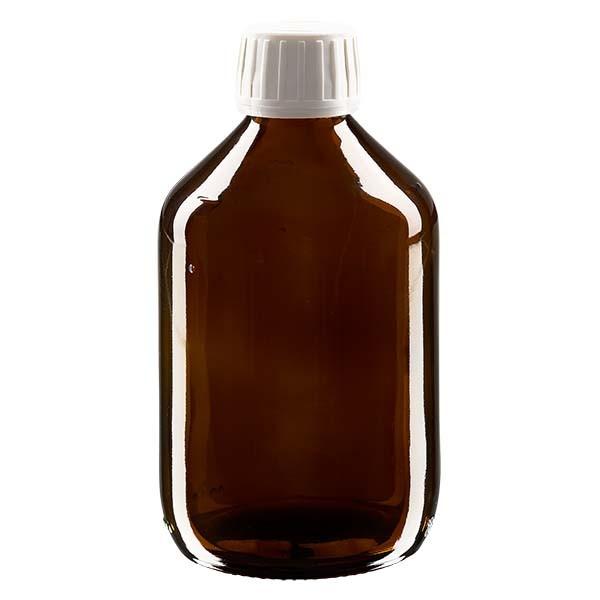300ml Euro-Medizinflasche braun mit weissem Verschluss