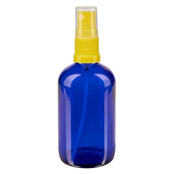 Blauglasflasche 100ml mit Pumpzerstäuber gelb