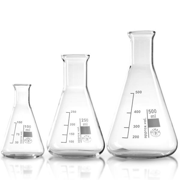 Erlenmeyerkolben 3-er Set 100 ml / 250 ml / 500 ml aus hochwertigem Borosilikat Laborglas
